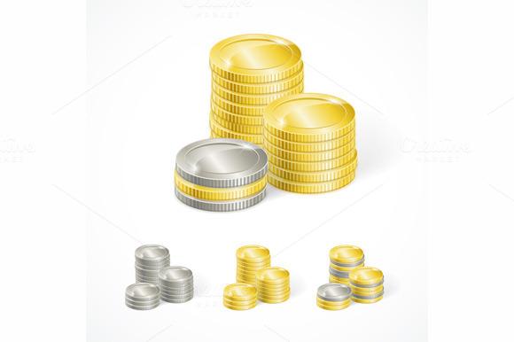 Vector Stacks Golden And Silver Coin