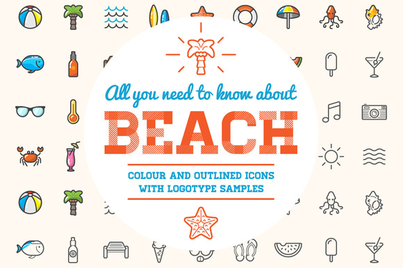 Awesome Beach Bar Icons And Logo Set