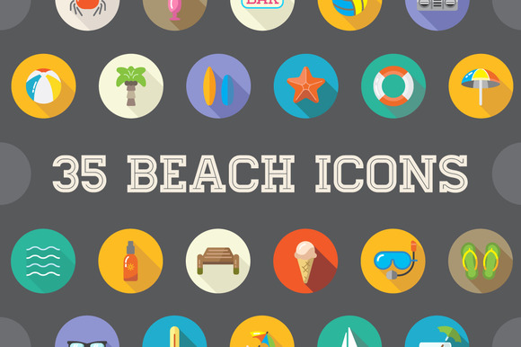 Awesome 35 Beach Flat Vector
