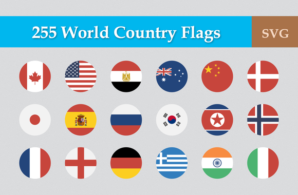 255 Flat Circular World Country Flag