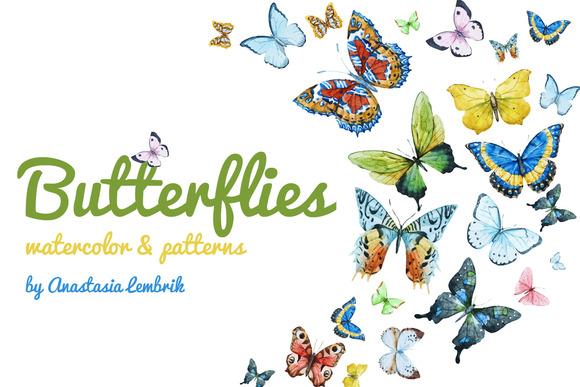 Watercolor Butterflies Patterns
