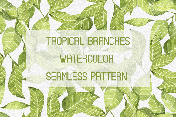 Tropical Branches Seamless Pattern