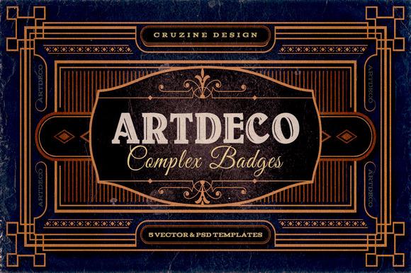 11 ArtDeco Badges Frames