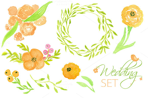 Wedding Floral Set Watercolor Cards