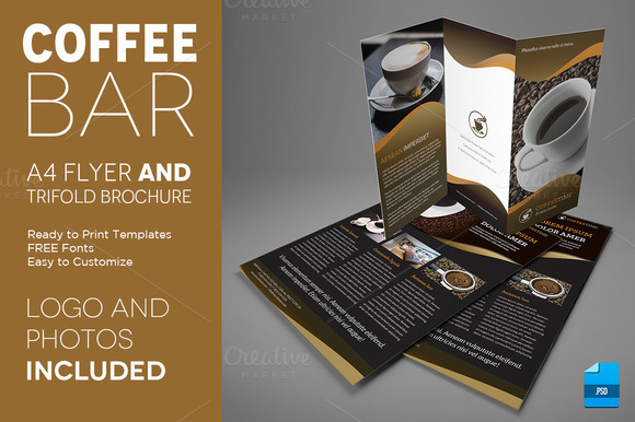 Coffee A4 Trifold Brochure And Flyer