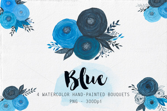 Watercolor Blue Bouquets