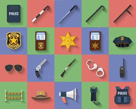 Set Of 20 Flat Icons Police Theme