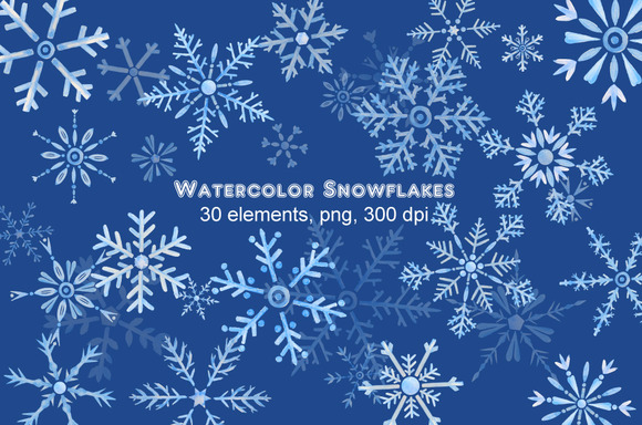Watercolor Clipart Snowflakes