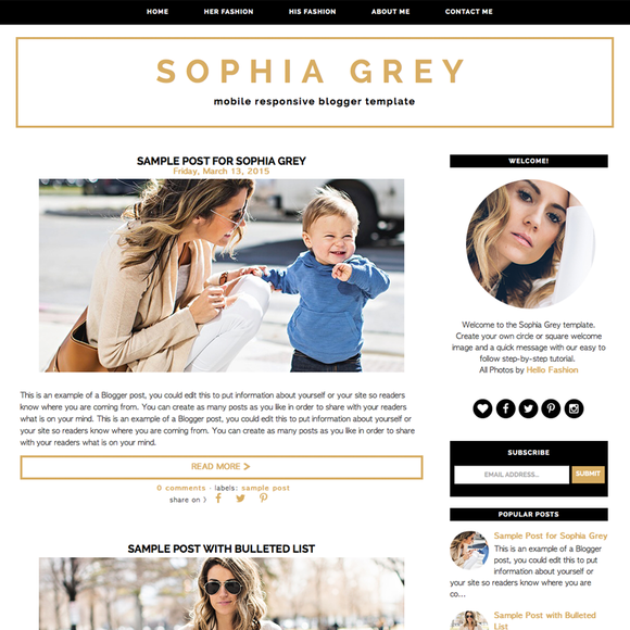 Sophia Grey Blogger Template