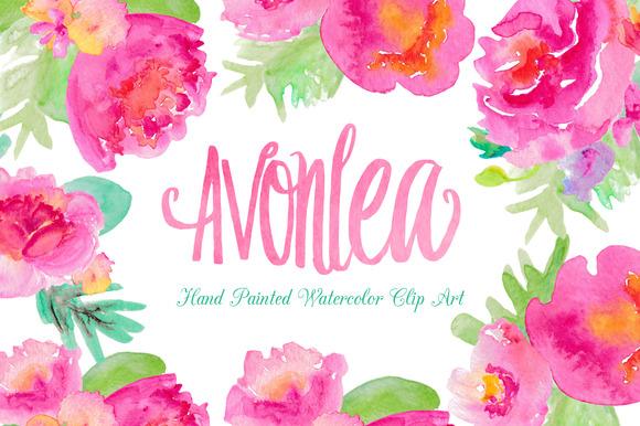 Avonlea Watercolor Flowers Clip Art