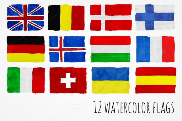 Watercolor Flag Set