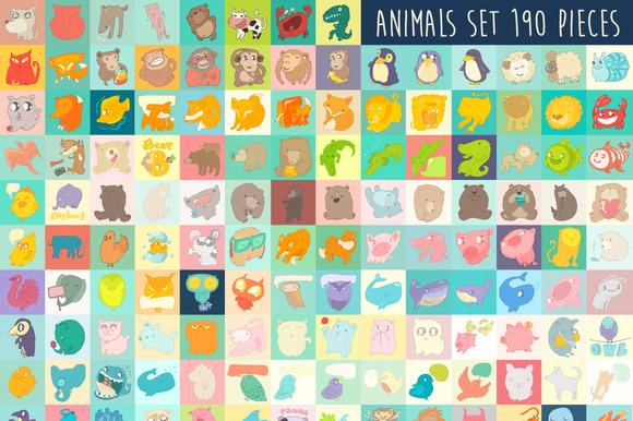 Set Of Cute Cartoon Animals