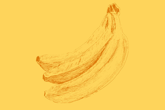 Yellow Banana Engraving