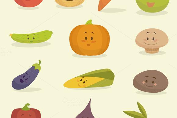 Set Of 13 Cute Cartoon Vegetables