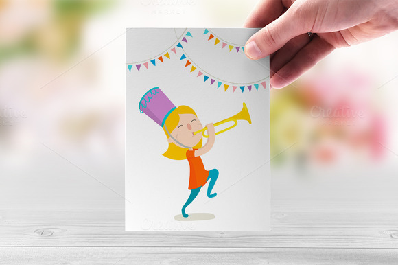 Happy Trumpeter Vector Illustration