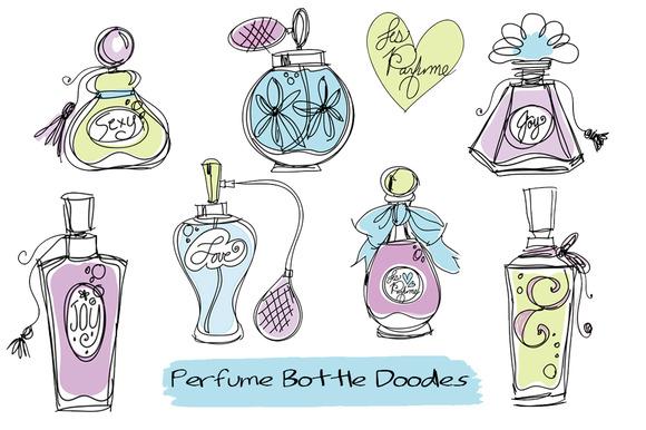Doodle Perfume Bottles Clipart