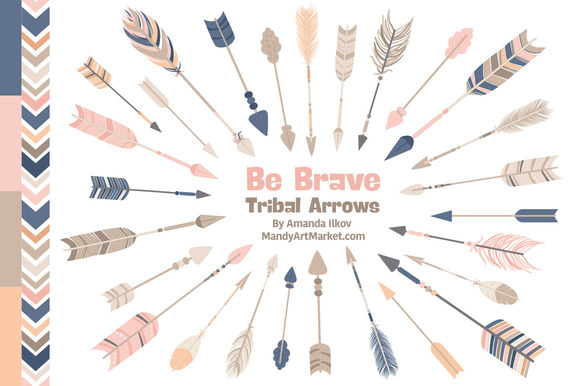 Navy Pink Tribal Arrows Clipart