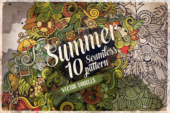 10 Summer Doodles Endless Patterns