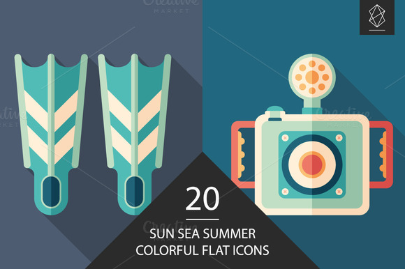 Sun Sea Summer Flat Icon Set