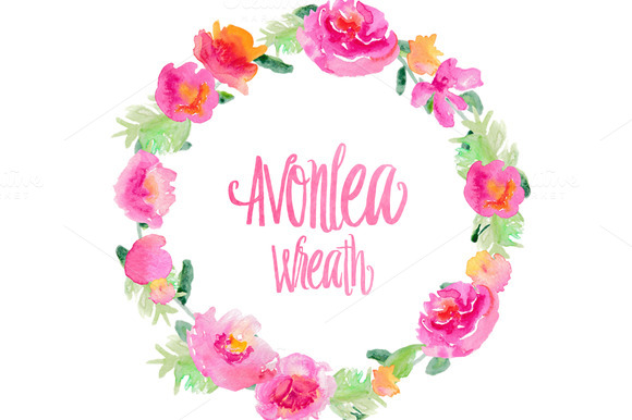 Avonlea Floral Wreath Clip Art