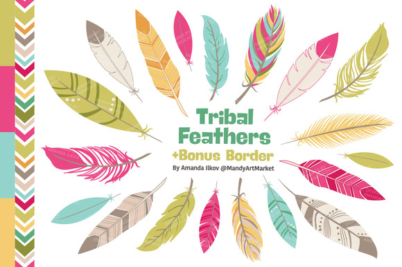Bohemian Feathers Clipart Vectors