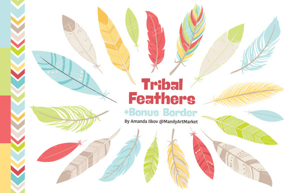 Fresh Tribal Feathers Clipart