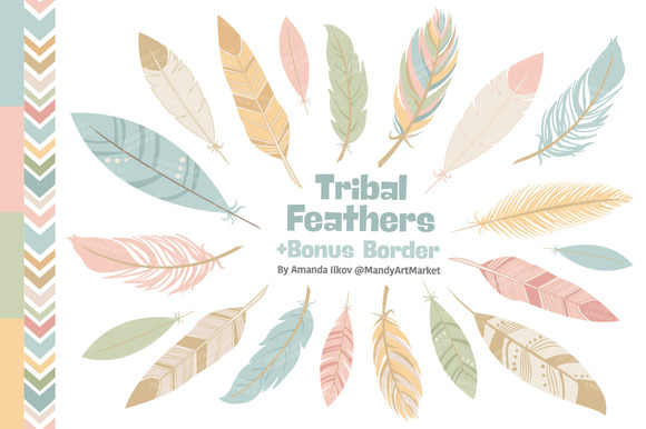 Soft Pastel Feathers Clipart