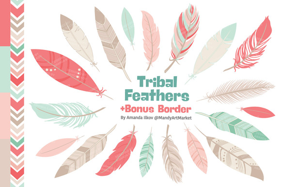 Mint Coral Feathers Clipart