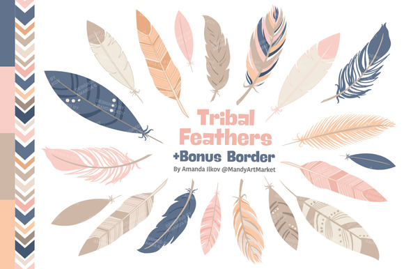 Navy Blush Feather Vector Clipart