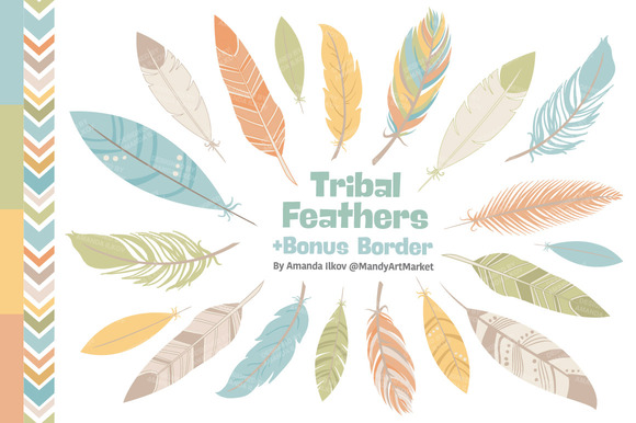 Vintage Feathers Vector Clipart