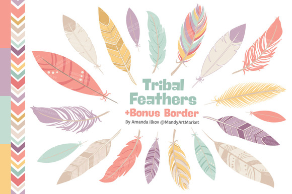 Vintage Pink Feathers Vector Clipart