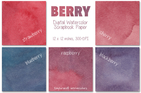 Berry Watercolor Scrapbook Paper