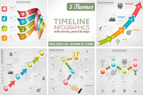 5 Themes Timeline Infographics