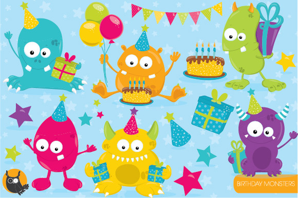 Birthday Monster Clipart