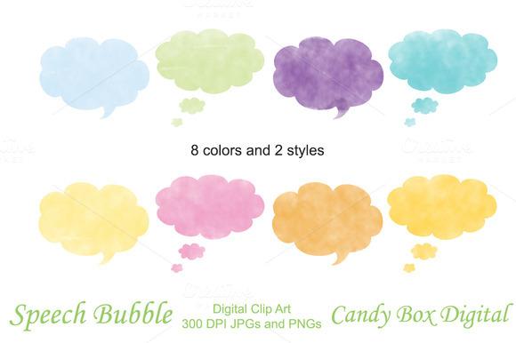 Watercolor Clipart Speech Bubbles
