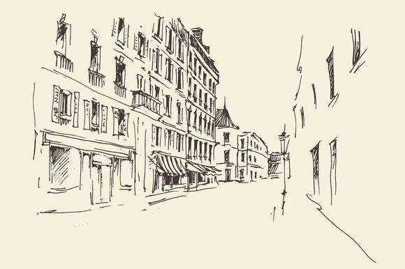 Set Of 5 Pics Streets In Paris