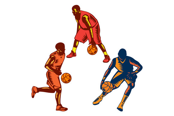 Basketball Player Dribble Woodcut Co