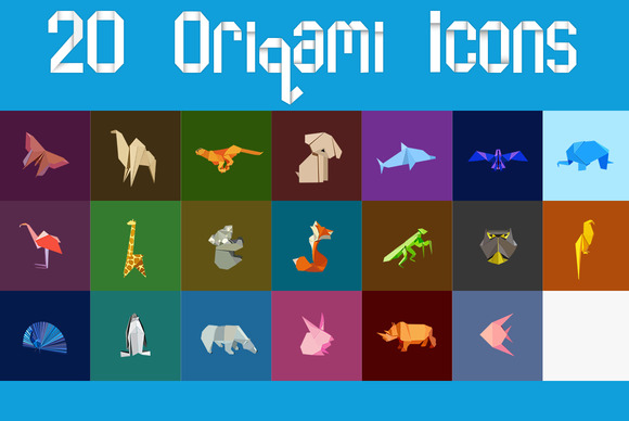 20 Origami Icons Animals