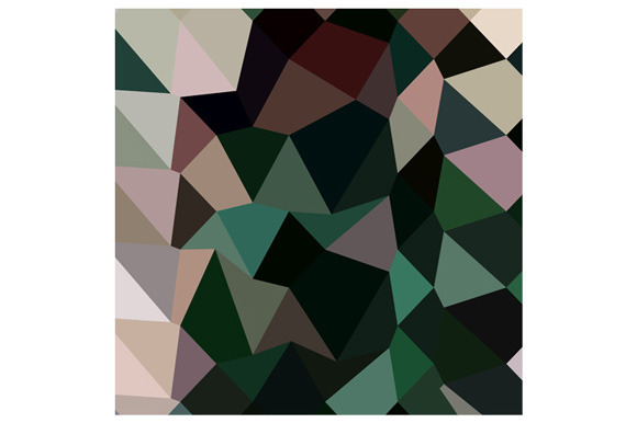 Dark Moss Green Abstract Low Polygon