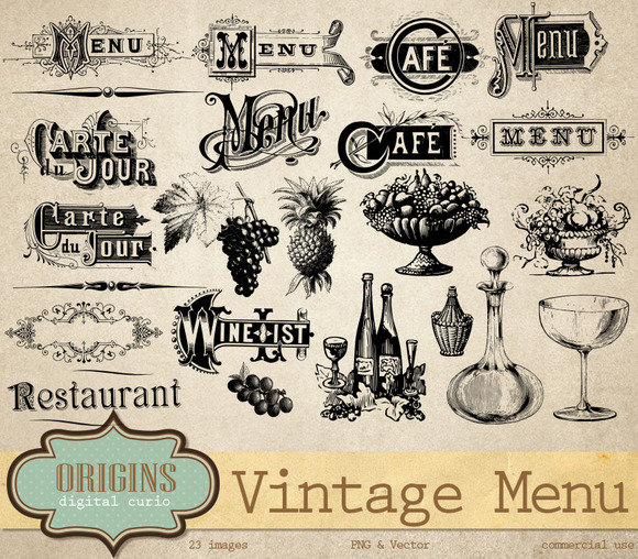 Vintage Menu Wine List Vectors