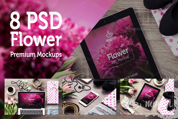 8 PSD Flower Mockups