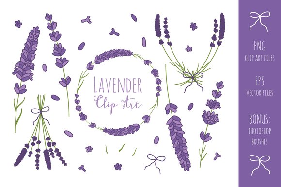 Lavender Branches Clip Art Vector