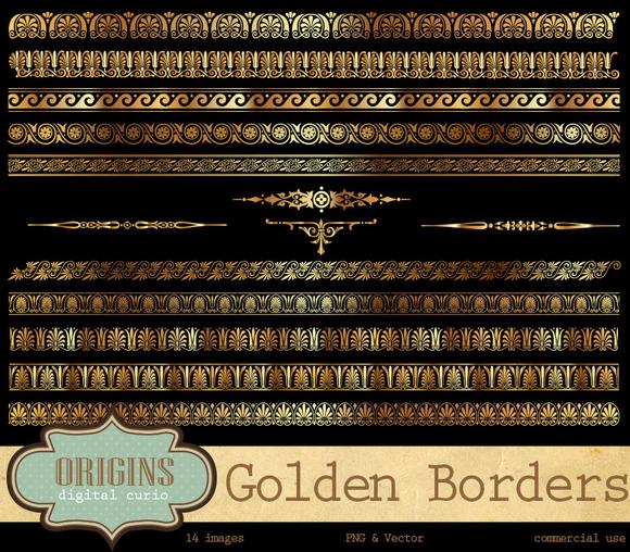 Golden Borders Vector Clipart