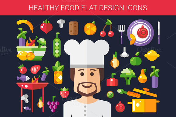 Food Cooking Flat Design Icons Set