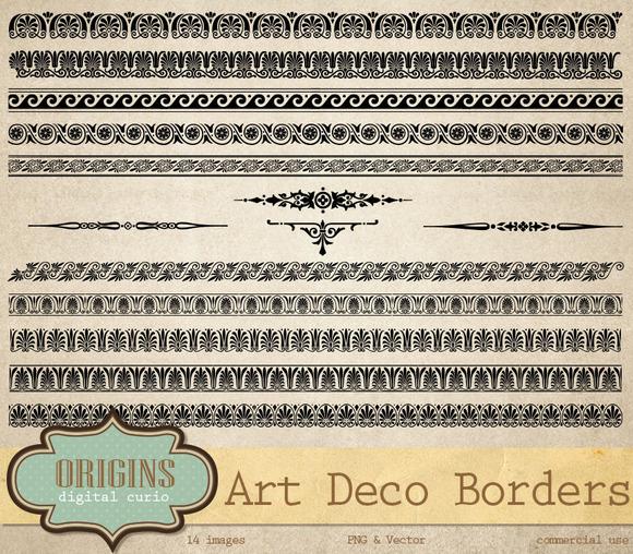 Art Deco Vector Borders Clipart