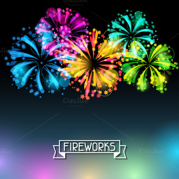 Bright Colorful Fireworks And Salute