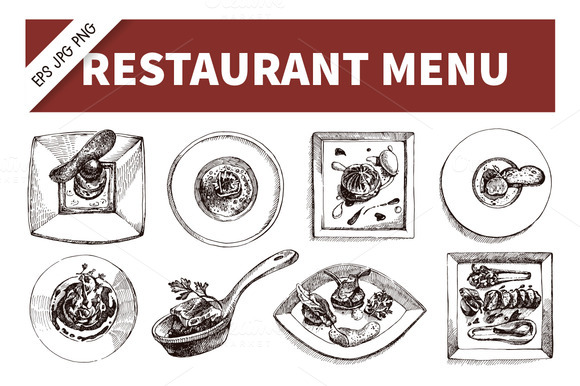 Hand Drawn Restaurant Menu Set
