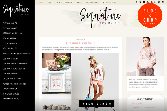 Signature Blog Store WP Theme