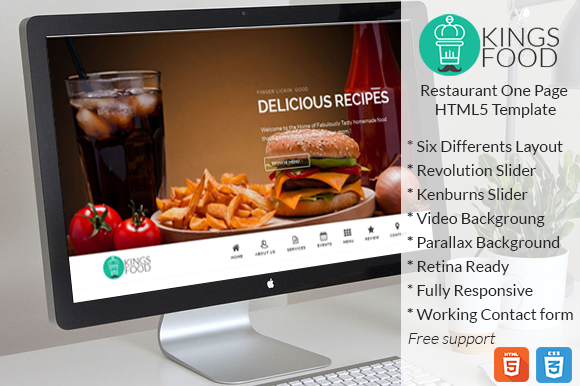 KingsFood Restaurant One Page HTML