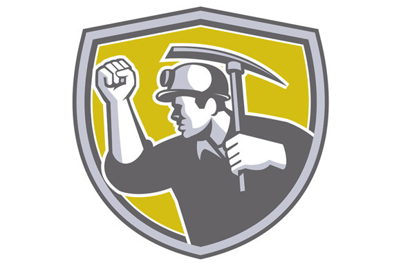 Coal Miner Clenched Fist Pick Axe Sh
